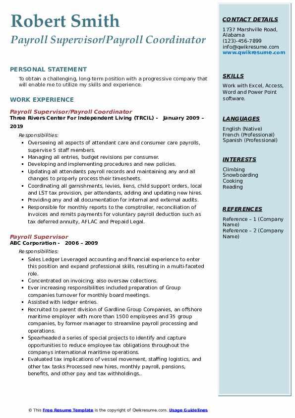 Payroll Supervisor/Payroll Coordinator Resume Sample