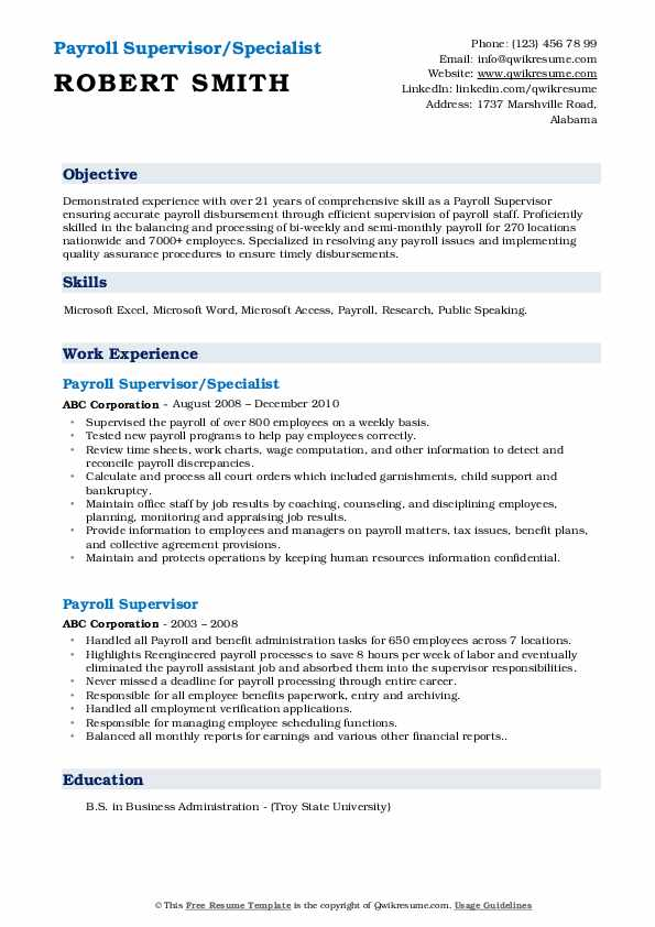 Payroll Supervisor/Specialist Resume Example