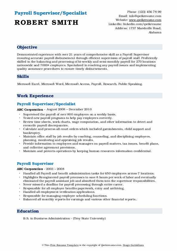 Payroll Supervisor/Specialist Resume Sample