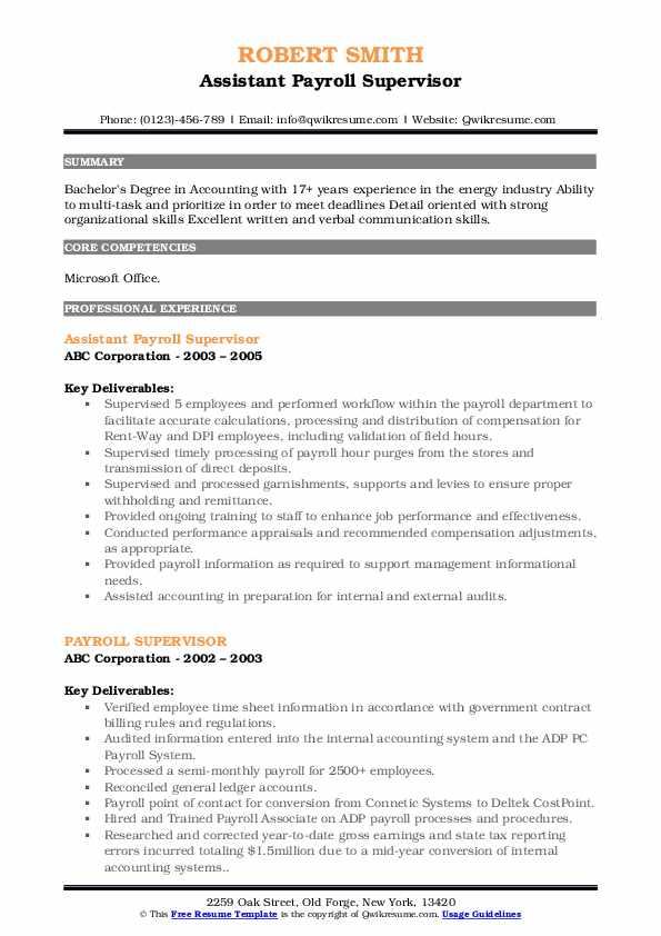 Assistant Payroll Supervisor Resume Format
