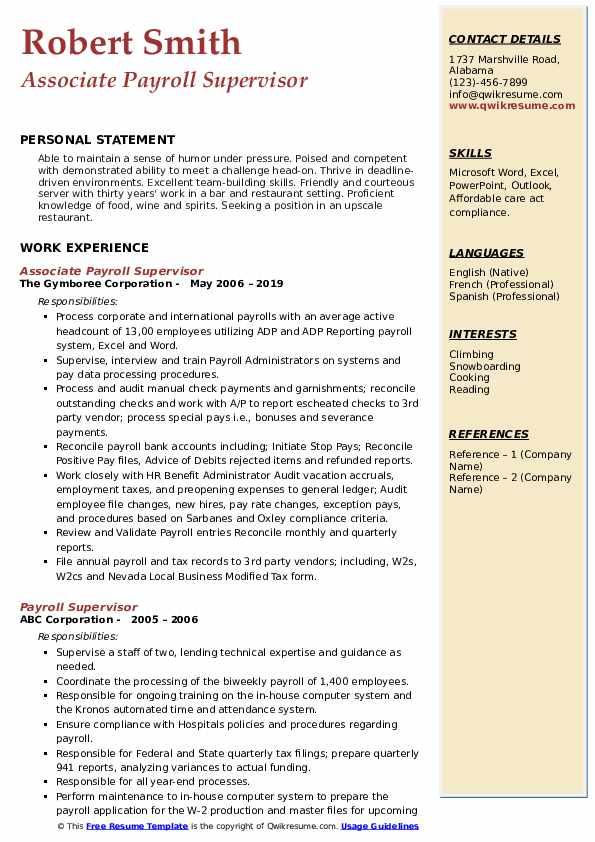 Associate Payroll Supervisor Resume Example