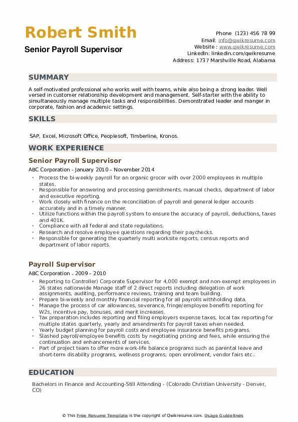 Senior Payroll Supervisor Resume Example