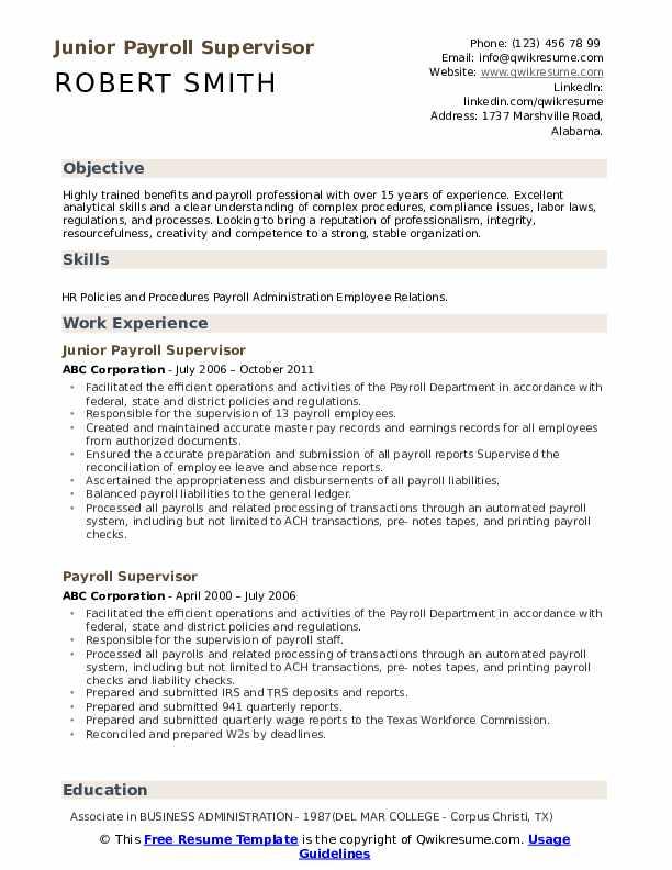 Junior Payroll Supervisor Resume Sample