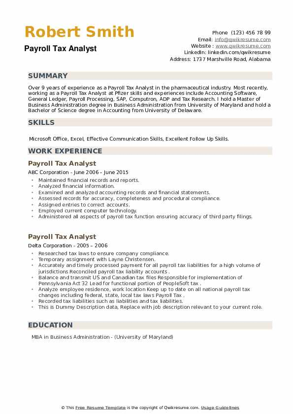 Payroll Tax Analyst Resume example
