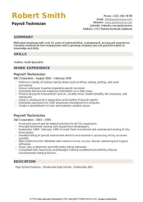 Payroll Technician Resume example