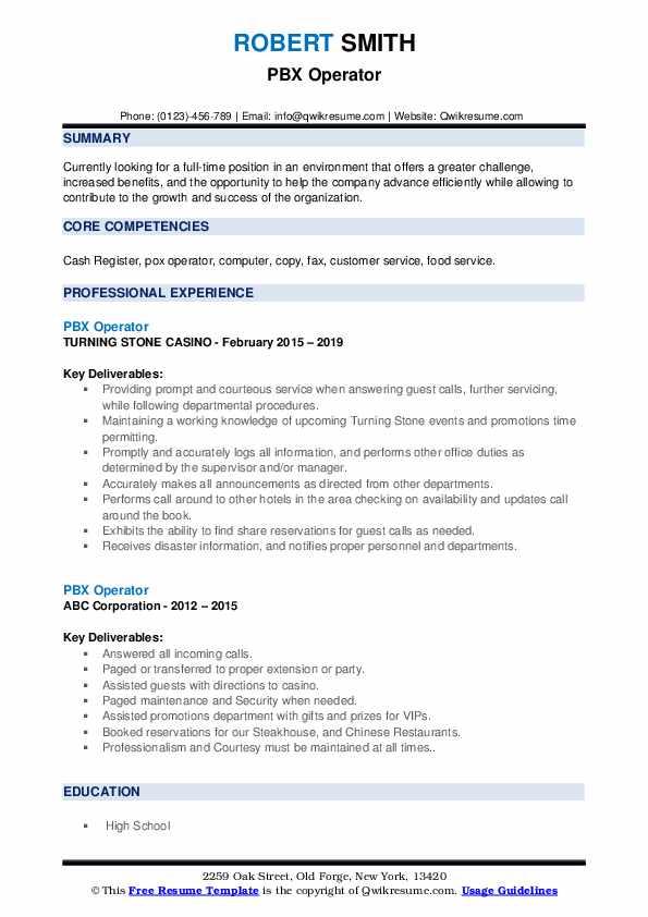 PBX Operator Resume example