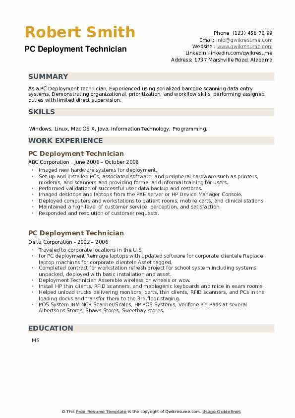 PC Deployment Technician Resume example