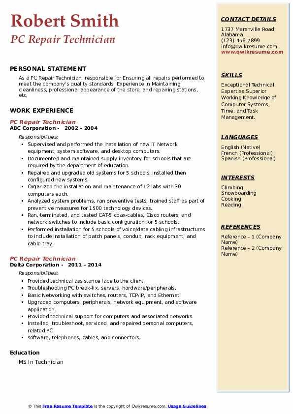 pc repair technician resume samples  qwikresume