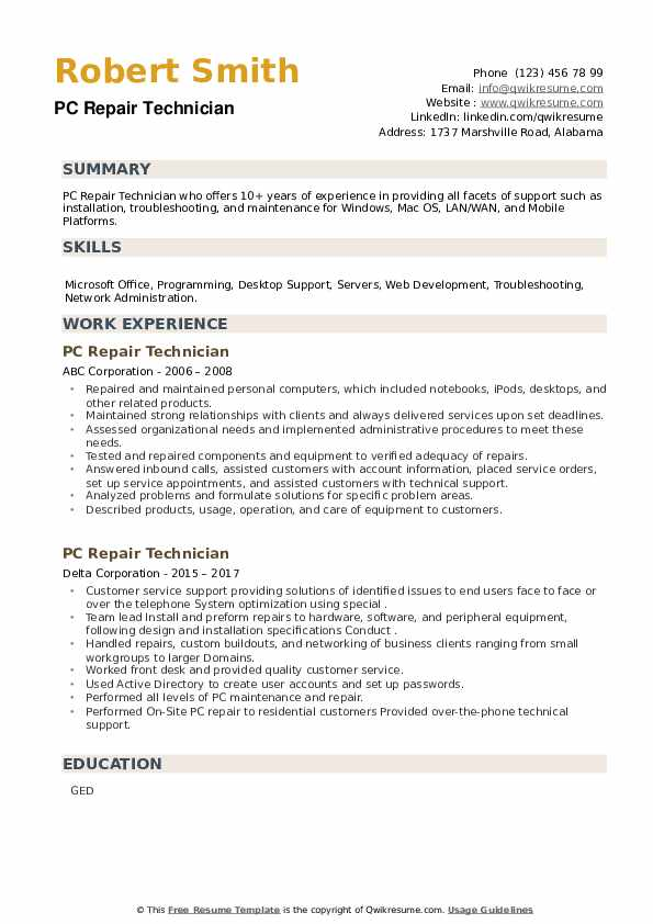 PC Repair Technician Resume example