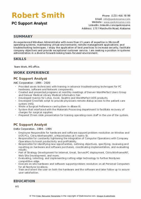 PC Support Analyst Resume example