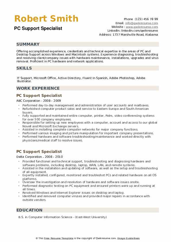 PC Support Specialist Resume example