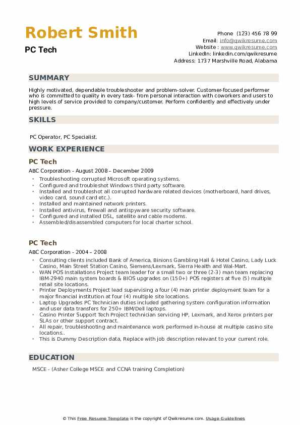 PC Tech Resume example