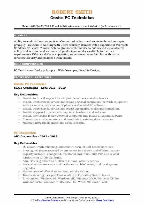 Onsite PC Technician Resume Sample