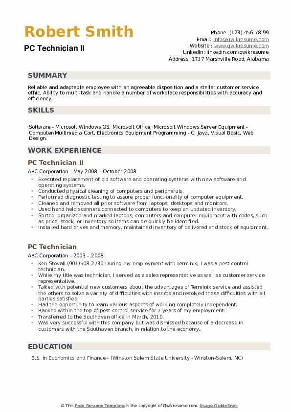PC Technician II Resume Model