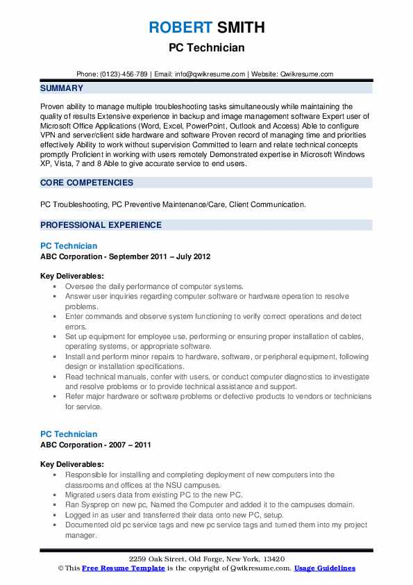 PC Technician Resume example