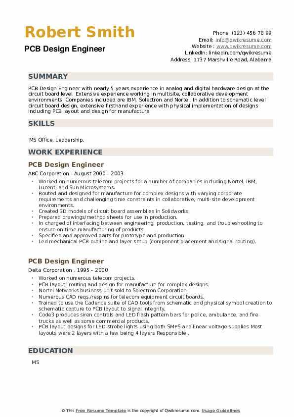 PCB Design Engineer Resume example