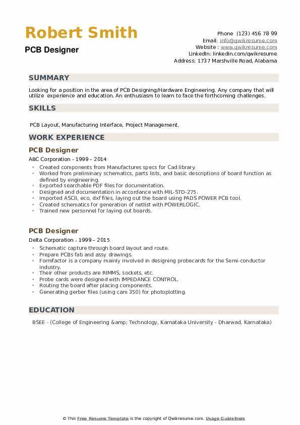 PCB Designer Resume example