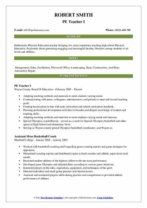 PE Teacher I Resume Format