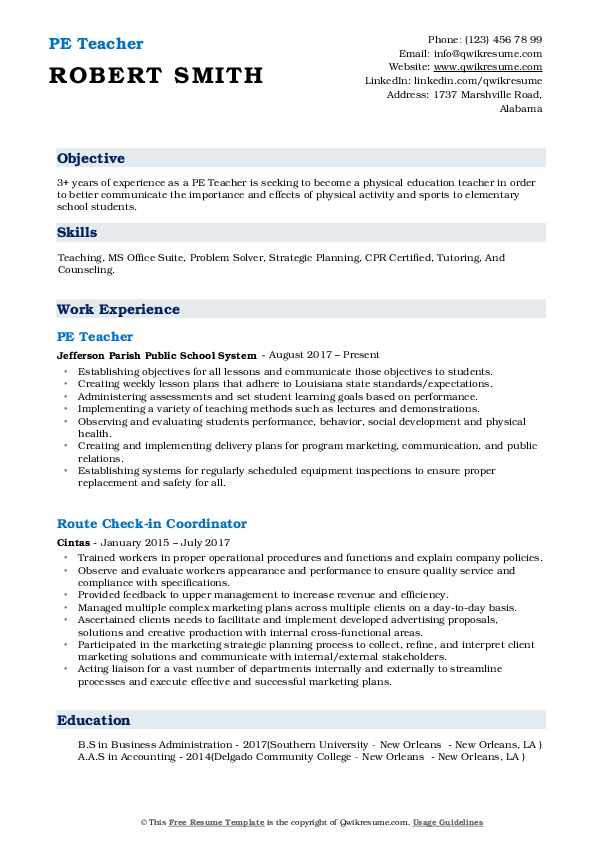 Pe Teacher Resume Samples Qwikresume
