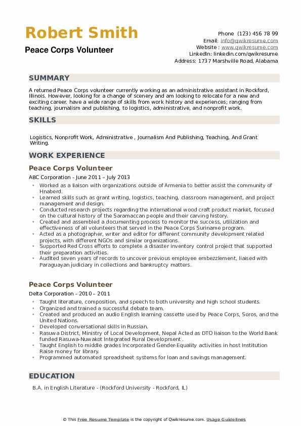 Peace Corps Volunteer Resume example