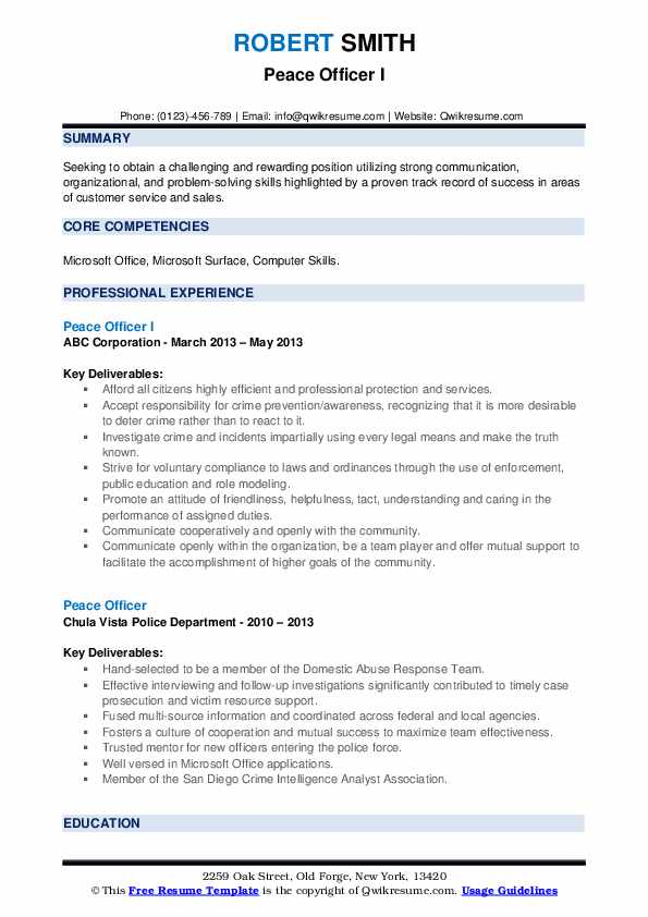 Peace Officer I Resume Template