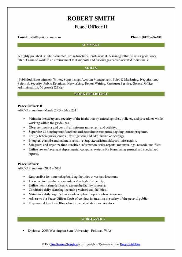 Peace Officer II Resume Model