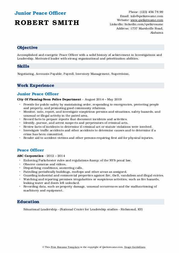 Junior Peace Officer Resume Model
