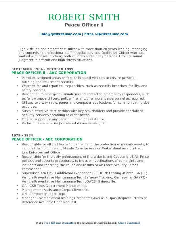 Peace Officer II Resume Format