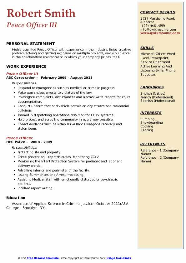 Peace Officer III Resume Format