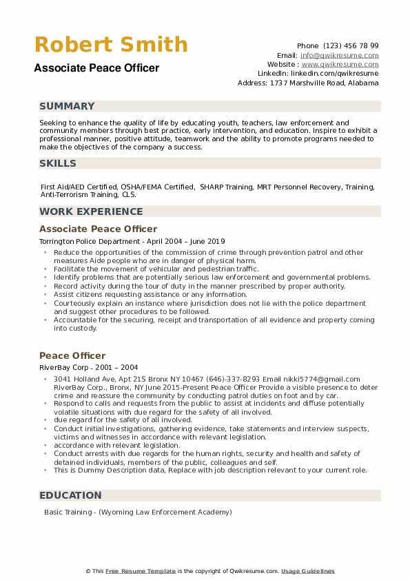 Associate Peace Officer Resume Model