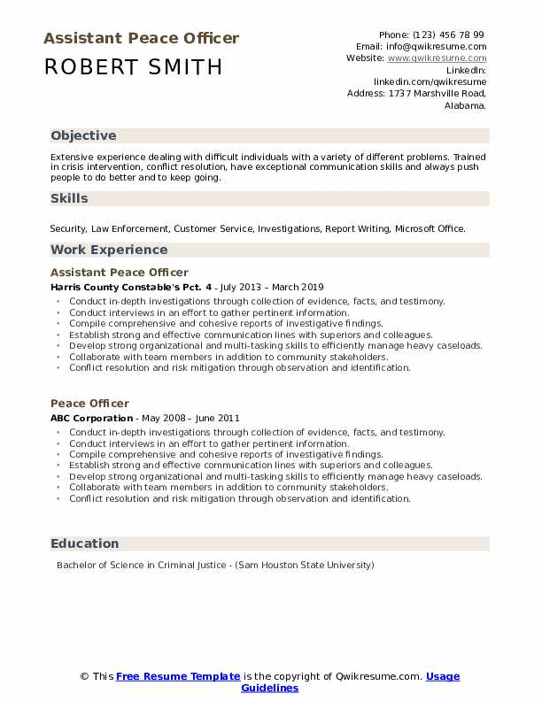 Assistant Peace Officer Resume Format