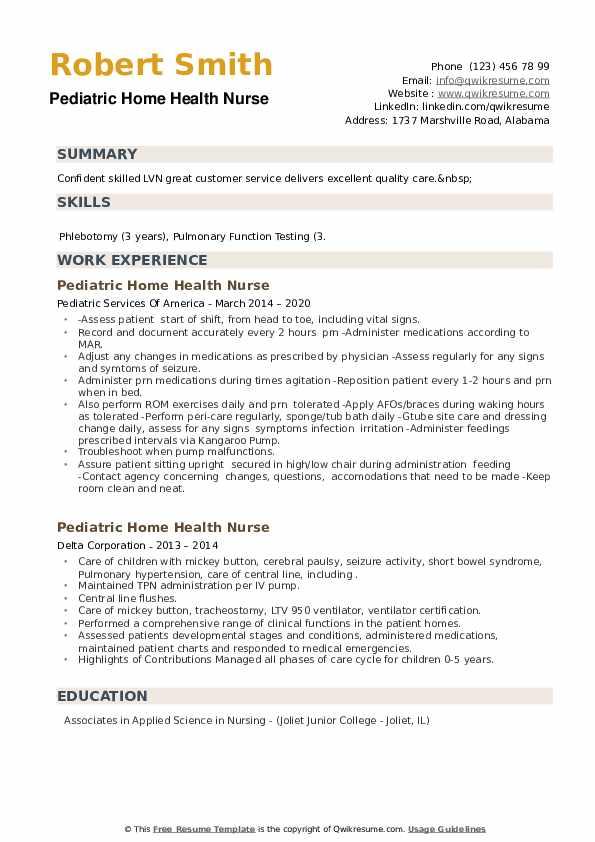 Pediatric Home Health Nurse Resume example