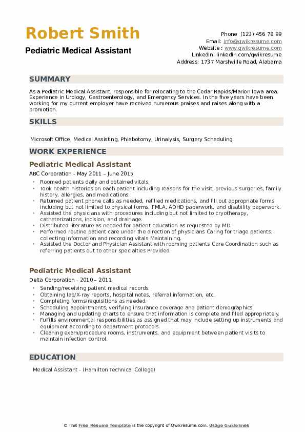 Pediatric Medical Assistant Resume example