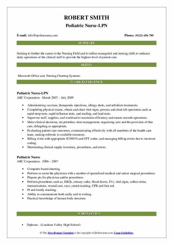 Pediatric Nurse-LPN Resume Format