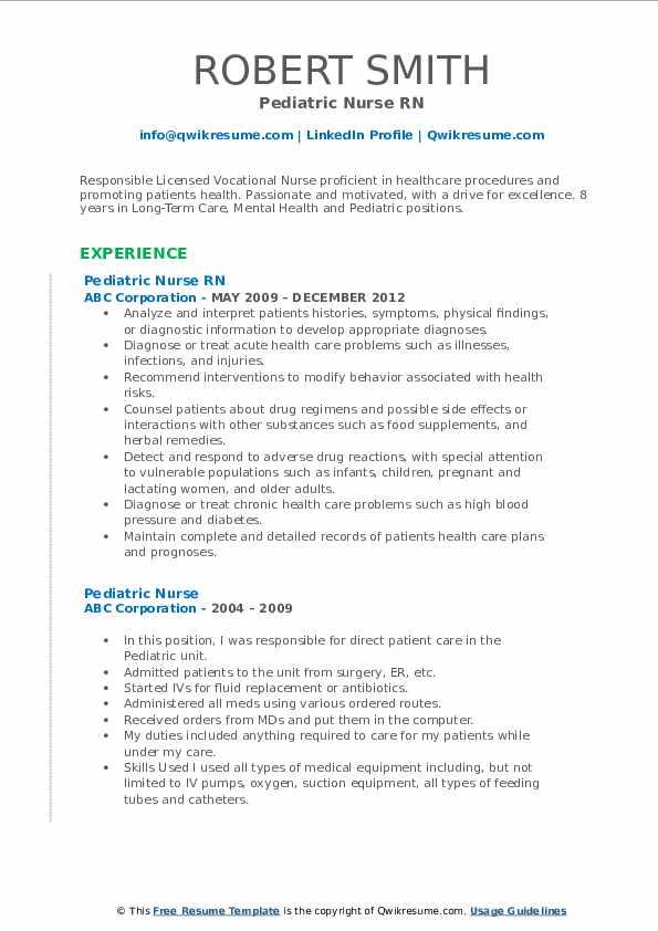 Pediatric Nurse RN Resume Sample