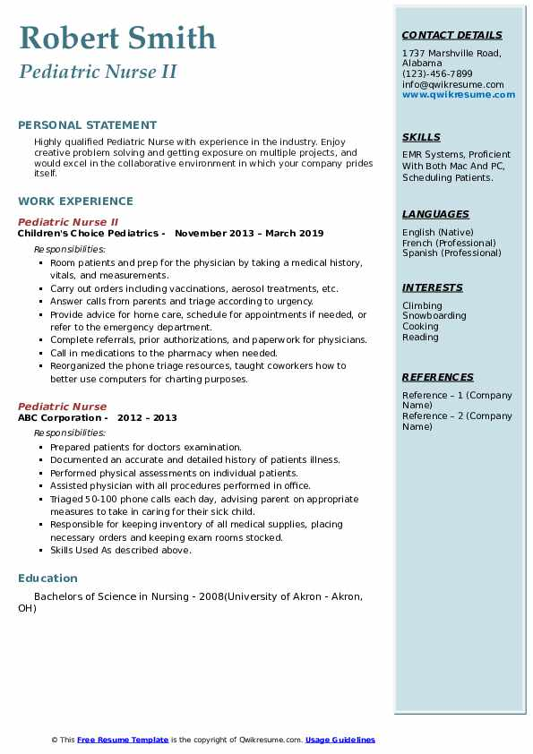 Pediatric Nurse Resume Samples Qwikresume