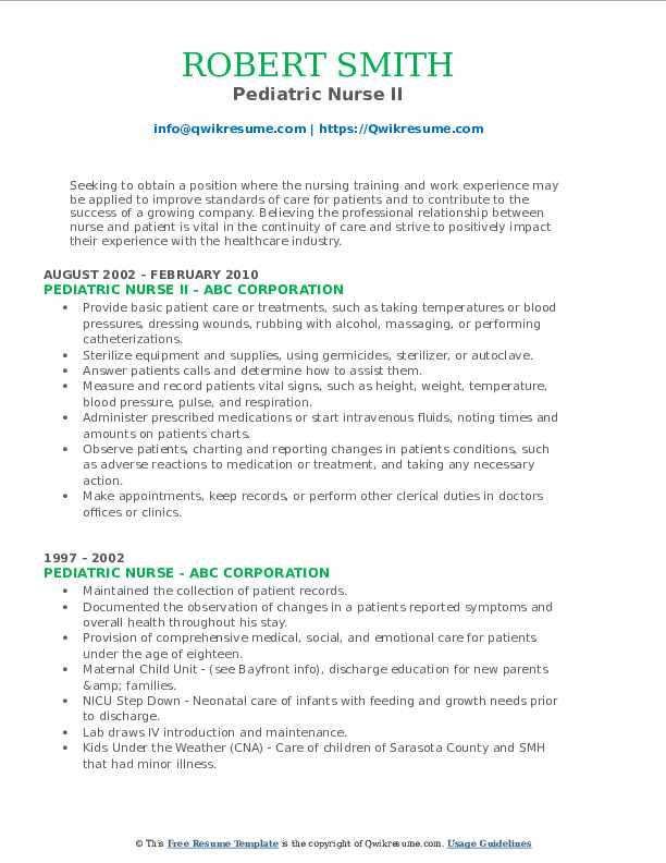 Pediatric Nurse II Resume Example