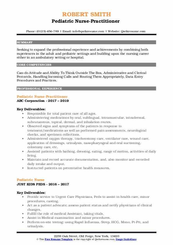 Pediatric Nurse-Practitioner  Resume Template