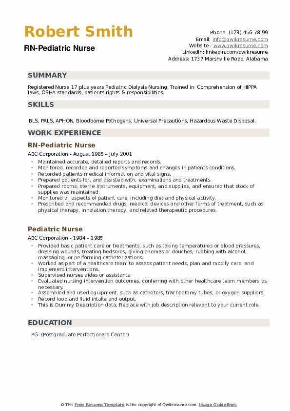 RN-Pediatric Nurse Resume Example