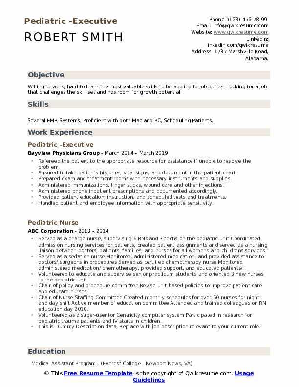 Pediatric -Executive Resume Example