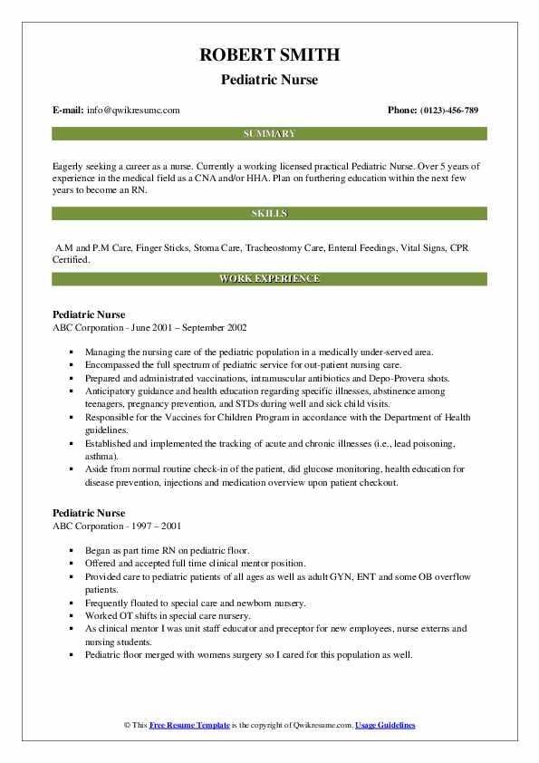 Pediatric Nurse Resume example