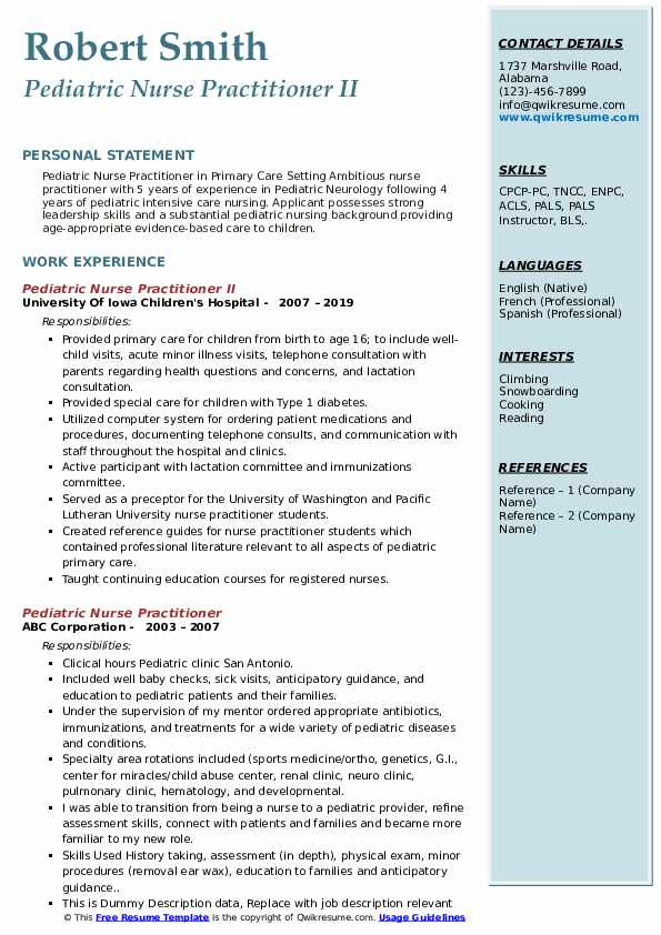 Pediatric Nurse Practitioner Resume Samples Qwikresume