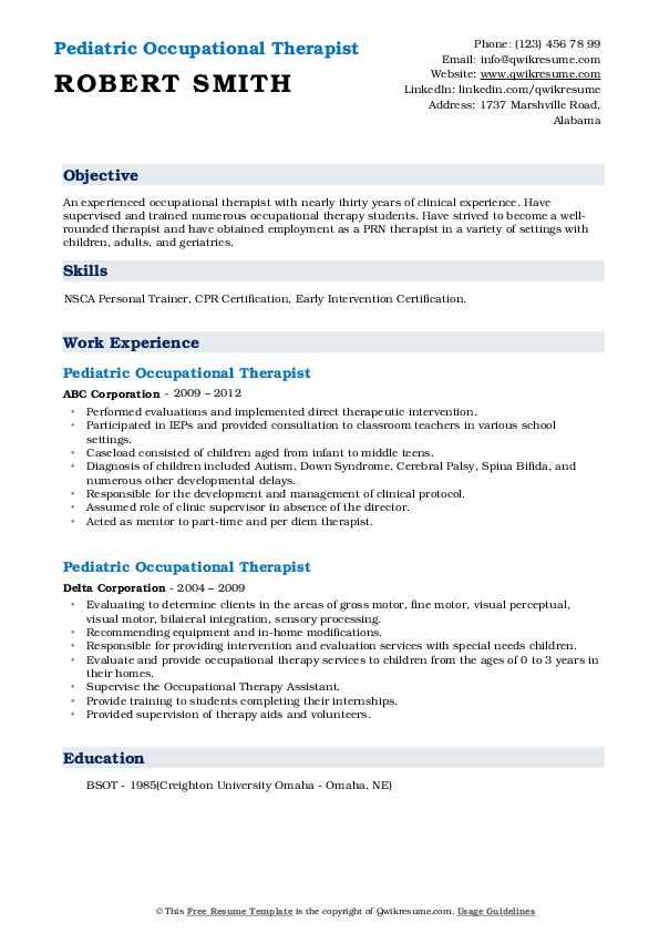 pediatric occupational therapist resume samples  qwikresume