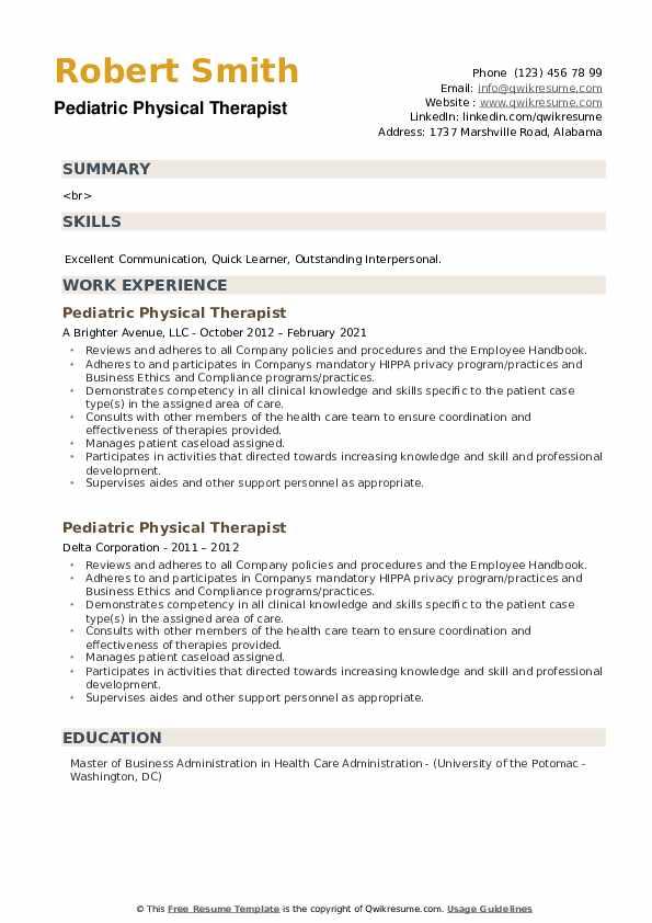 Pediatric Physical Therapist Resume example