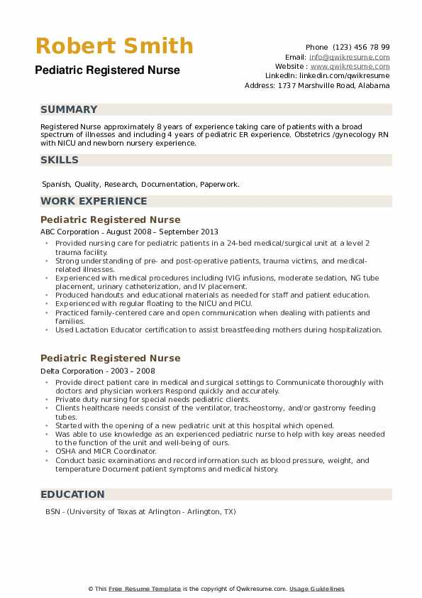 Pediatric Registered Nurse Resume example
