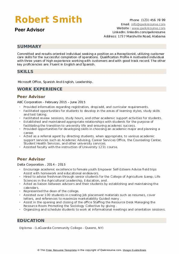 Peer Advisor Resume example
