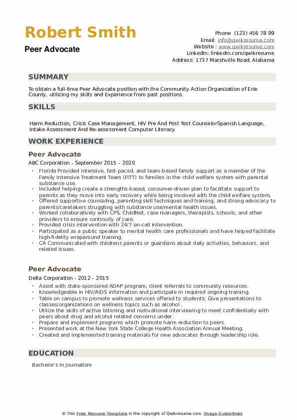 Peer Advocate Resume example