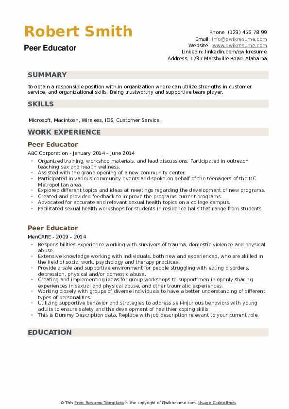 Peer Educator Resume example