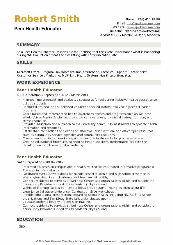 Peer Health Educator Resume example