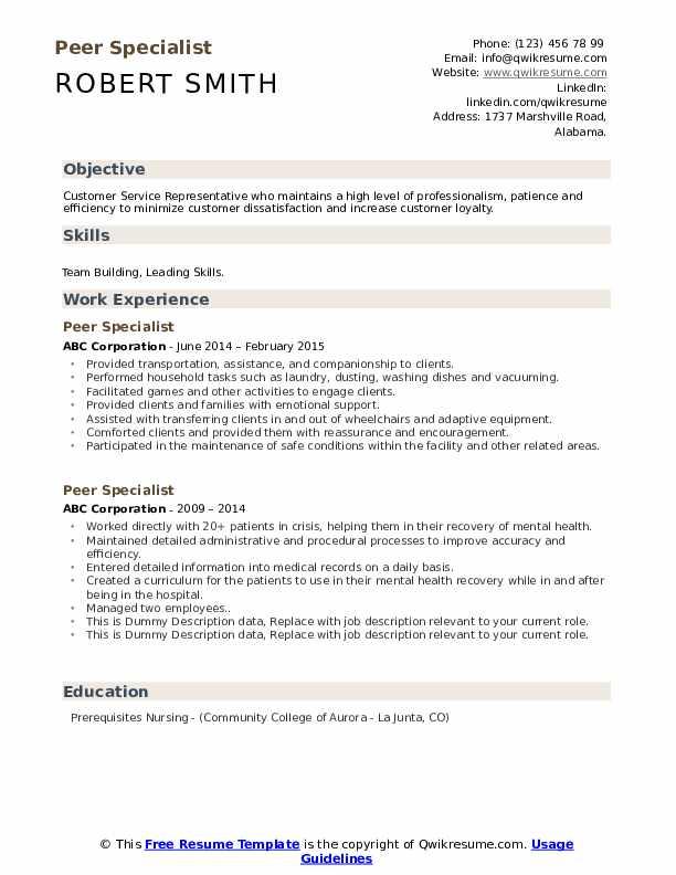 Peer Specialist Resume example